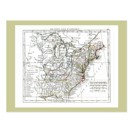 1806 Map - Les Etats Unis d'Amrique Post Card