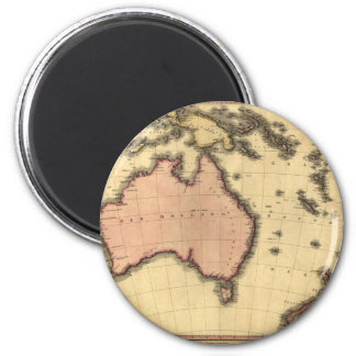1818 Australasia  Map - Australia, New Zealand 6 Cm Round Magnet