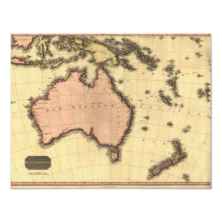 1818 Australasia  Map - Australia, New Zealand 11 Cm X 14 Cm Invitation Card