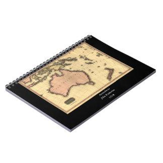 1818 Australasia Map - Australia, New Zealand Spiral Notebooks