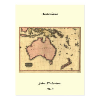1818 Australasia Map - Australia, New Zealand Postcard