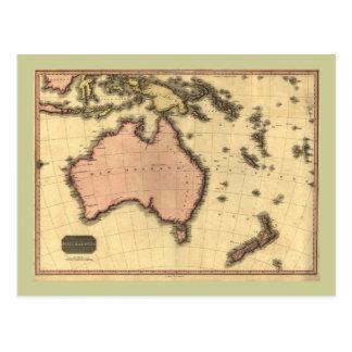 1818 Australasia Map - Australia, New Zealand Postcard