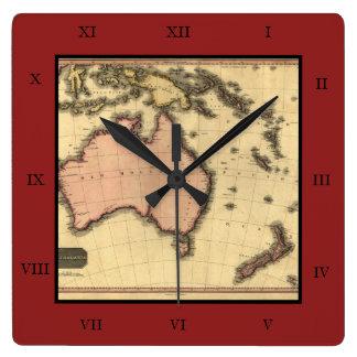 1818 Australasia Map - Australia, New Zealand Square Wall Clock