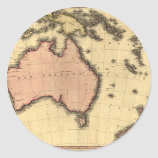 1818 Australasia  Map - Australia, New Zealand Round Sticker