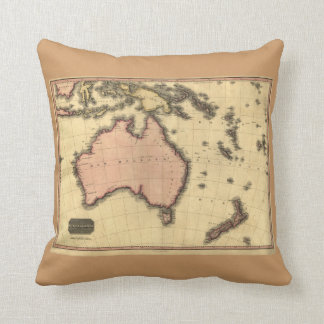 1818 Australasia Map - Australia, New Zealand Throw Pillow