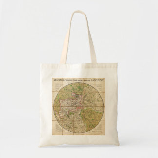 1820 Mogg Pocket or Case Map of London England Budget Tote Bag