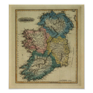 1823 Ireland map by Lucas Fielding Jr Poster