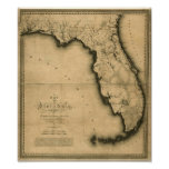 1823 Map of Florida Poster