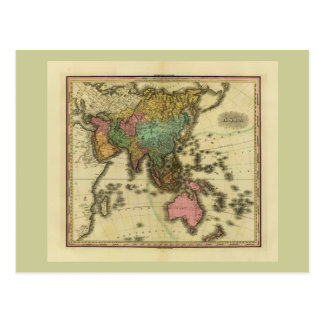 1825 Map of Asia by Henry Tanner Postcards