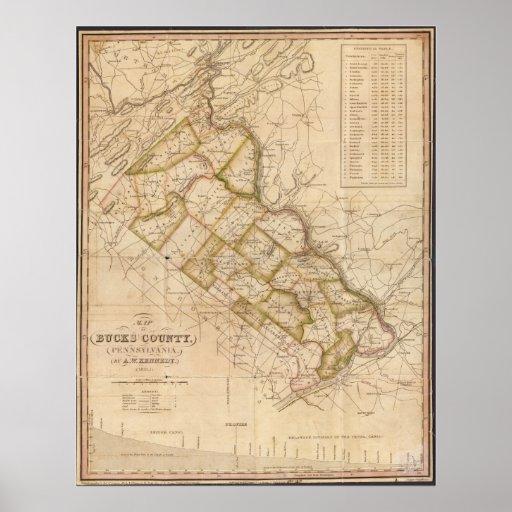 1831 Map of Bucks County Pennsylvania Poster
