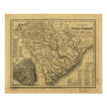 1833 Rail & Ship Routes Map of South Carolina Poster