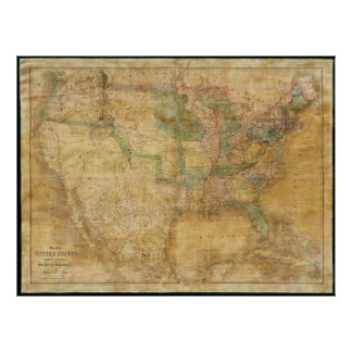 1839 David H. Burr Wall Map of the United States Poster