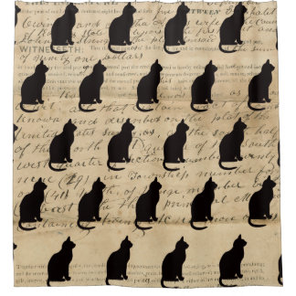1840's Rustic Ephemera Deed Cat  Silhouette Shower Curtain