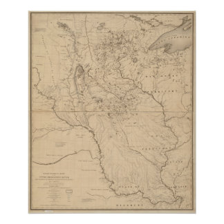 1843 Map of Mississippi River Poster