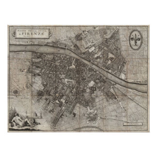 1847 Molini Pocket Map of Florence Italy Poster