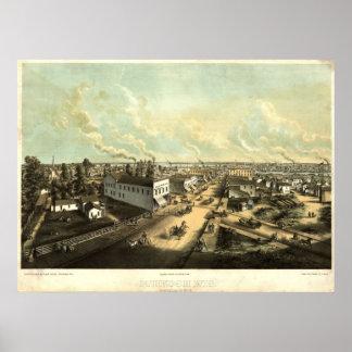 1850's Oshkosh, WI Bird's Eye View Panoramic Map Poster