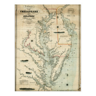 1852 Chart of Chesapeake and Delaware Bays Postcard