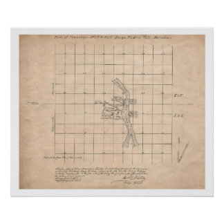 1853 Portland Oregon USGS survey map Poster
