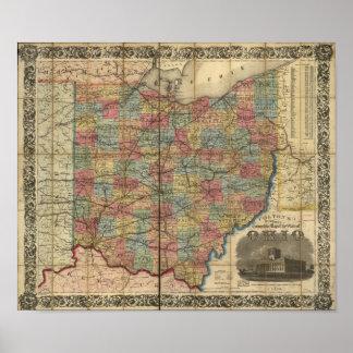 1854 Antique Rail Map of Ohio Poster
