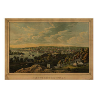 1855 Georgetown DC Birds Eye View Panoramic Map Poster