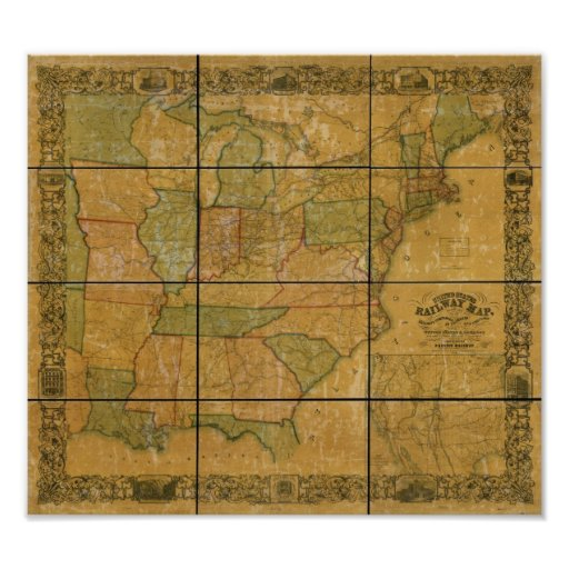 1856 Antique Railroad Map of the United States Poster