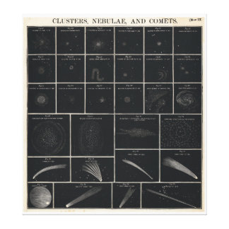1856 Burritt's Atlas Huntington Chart of Comets Stretched Canvas Prints