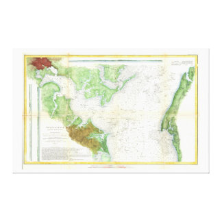 1857 Coast Survey Map or Chart of Patapsco RIver Stretched Canvas Print