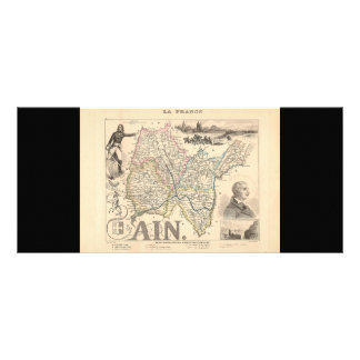 1858 Map of Ain Department, France Full Colour Rack Card