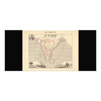 1858 Map of French India (Inde, France) Rack Cards