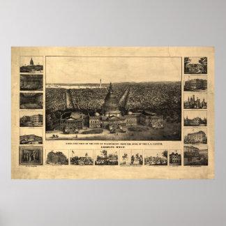 1860-90 Washington DC Birds Eye View Panoramic Map Poster