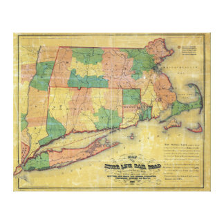 1860 map of the Shore Line Rail Road Stretched Canvas Print
