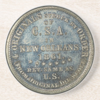 1861 50C Confederate Scott Restrike Civil War Coin Sandstone Coaster