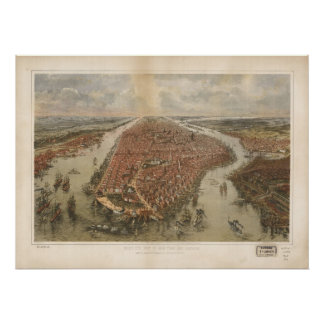 1865 New York City NY Birds Eye View Panoramic Map Poster