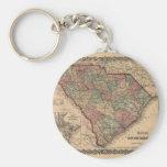 1865 South Carolina Map Basic Round Button Key Ring