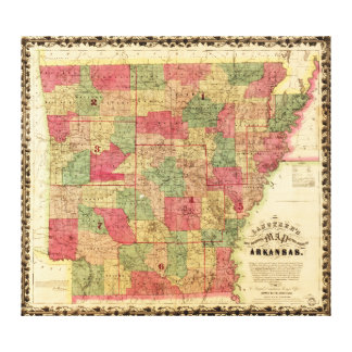 1866 Sectional Map of Arkansas by Caleb Langtree Gallery Wrapped Canvas