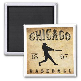 1867 Chicago Illinois Baseball Square Magnet