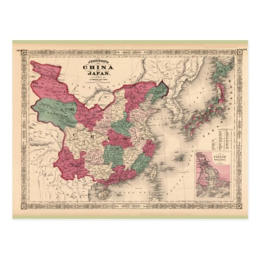 1868 Map - Johnson's China and Japan Postcards