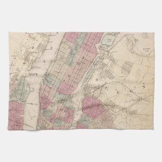 1868 Map of New York and Brooklyn Tea Towel