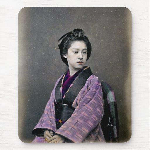 1870 Beautiful Japanese Woman Mouse Pad