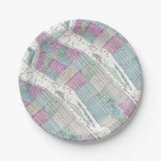 1870 Map New York City Central Park 7 Inch Paper Plate