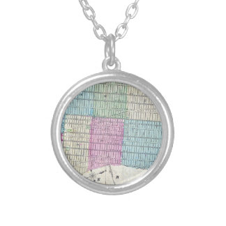 1870 Map New York City Central Park Silver Plated Necklace