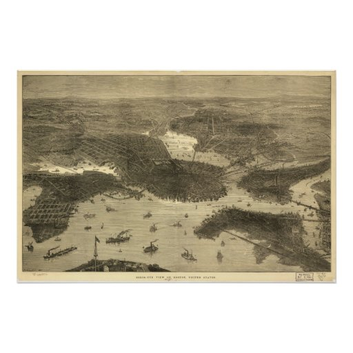 1870's Boston, MA Birds Eye View Panoramic Map Print