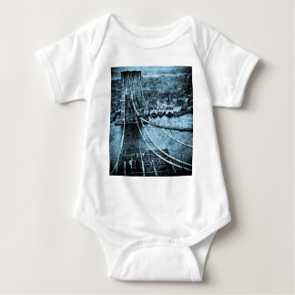 1870s Construction of  Brooklyn Bridge New York Baby Bodysuit