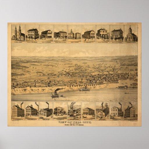 1870's Tell City, IN Birds Eye View Panoramic Map Print