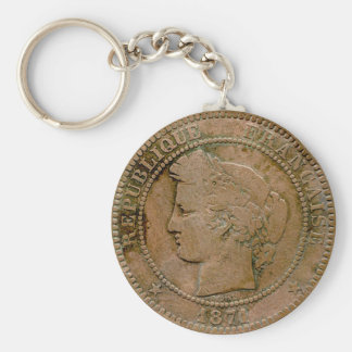 1871 French 10 Centime Basic Round Button Key Ring