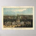 1871 Washington DC Birds Eye View Panoramic Map Posters