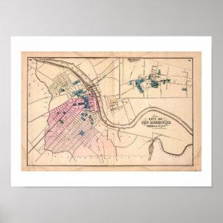 1872 REPRO Vintage Map New Brunswick, Princeton NJ Poster