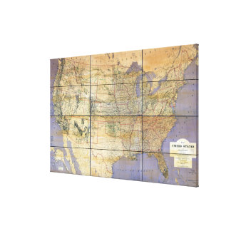 1873 Map of the United States and Territories Gallery Wrapped Canvas