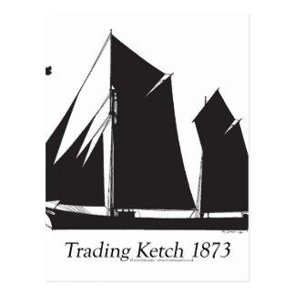 1873 trading ketch - tony fernandes postcard