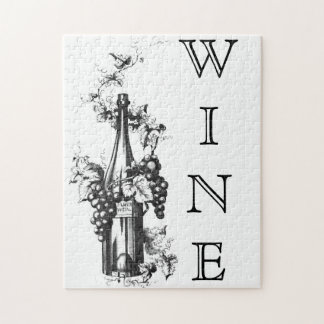 1873 Vintage Wine Bottle with Grapes and Leaves Jigsaw Puzzle